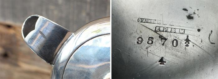 シルバーメッキのティーポット刻印