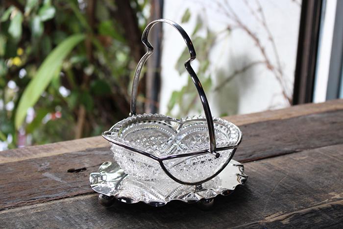 ヴィンテージカットガラスのジャムディッシュ