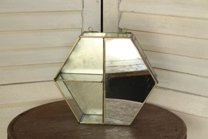 真鍮製鏡付きシェルフ