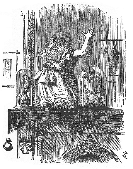 アンティークイラスト「不思議の国のアリスとガラスドーム」