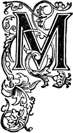 アンティークイラスト「アルファベットM」