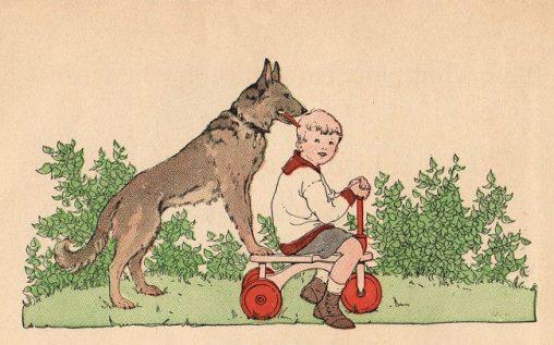 アンティークイラスト少年と犬