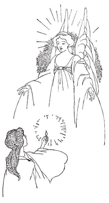 アンティークイラスト「天使と女性」