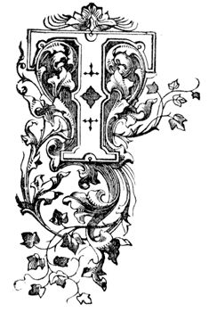 アンティークイラスト「古いアルファベットT」