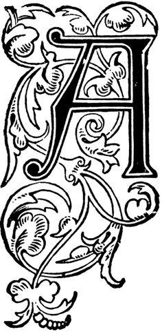 アンティークイラスト「アルファベットA」