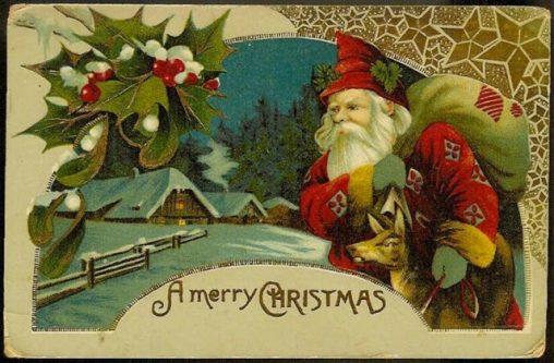 アンティークイラスト「サンタクロース・クリスマスカード」