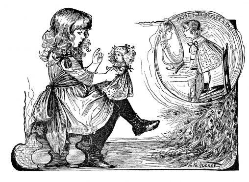 アンティークイラスト「女の子と人形」