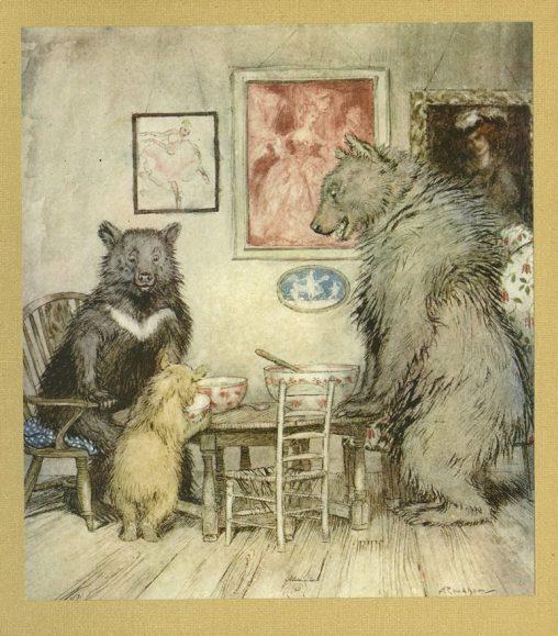 アンティークイラスト「熊の親子」
