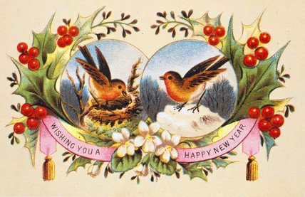 アンティークイラスト「小鳥の絵葉書」