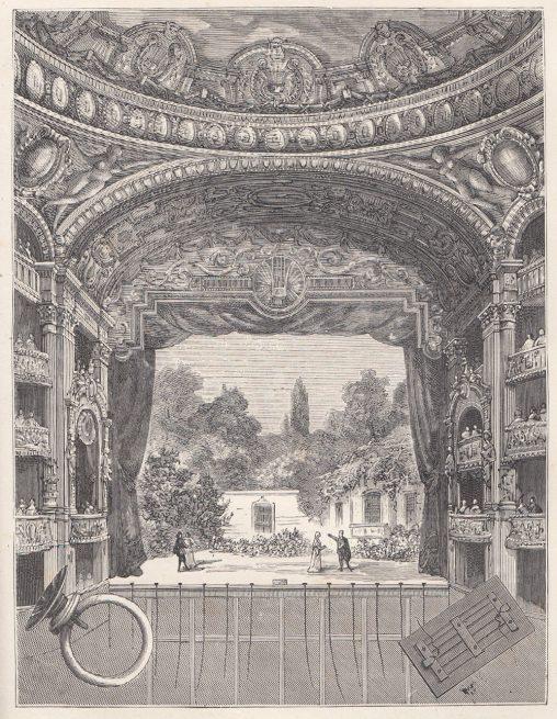古いオペラハウスの外観のイラスト